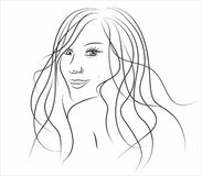 Illustration of beautiful girl with long hair. Hand drawn fashion woman with long hair  on white background Royalty Free Stock Photos