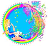 Illustration of beautiful girl reading the book and dreaming on fantasy background with firebird and rainbow. Cover for fairy tale. Vector cartoon image. Scale Royalty Free Stock Photography
