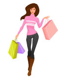 Illustration of a beautiful girl shopping Stock Photography