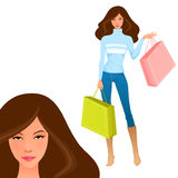 Illustration of a beautiful girl shopping Stock Photos