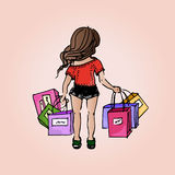Illustration beautiful girl. Shopping. Purchases. Girl-student on vacation. Royalty Free Stock Images