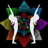 Raised arms pose. Illustration with a beautiful girl on a yoga theme - hasta utthanasana pose Stock Photos