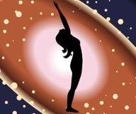 Raised arms pose. Illustration with a beautiful girl on a yoga theme - hasta utthanasana pose Stock Photo