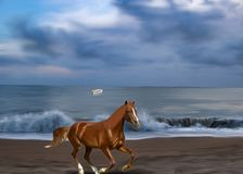 A beautiful horse galloping on the beach vector illustration