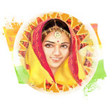 Illustration of beautiful Indian young woman. Image in the national tricolor for Indian Independence Day celebration. Stock Image