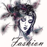Illustration with beautiful lady in realistic feathers and grung Royalty Free Stock Photos