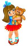 Illustration of beautiful little girl holding teddy bear. Royalty Free Stock Photo