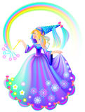 Illustration of beautiful medieval princess holding magic wand. Stock Photography
