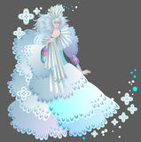 Illustration of beautiful medieval snow queen. Stock Photo