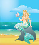 Illustration of a Beautiful mermaid girl Stock Images