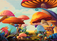 Illustration: A Beautiful Mushroom Land. It looks like you can walk into a story by this path. Realistic Cartoon Style Scene / Wallpaper / Background Design Stock Photos