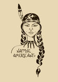 Illustration with beautiful Native American Indian girl Royalty Free Stock Photography
