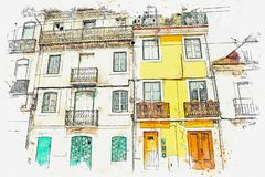 Illustration. Beautiful old houses on the street in Lisbon in Portugal. Vector Illustration