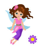 Illustration of a beautiful pink fairy. In flight  on white background Royalty Free Stock Image