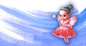 Illustration of a beautiful pink fairy. Holding a star shaped magic stick in her hands Stock Images
