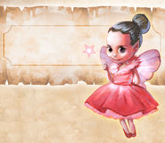 Illustration of a beautiful pink fairy. Holding a star shaped magic stick in her hands Royalty Free Stock Photo