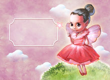 Illustration of a beautiful pink fairy. Holding a star shaped magic stick in her hands Stock Photography