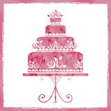 Illustration of a beautiful pink festive cake in a frame. For a wedding Royalty Free Stock Photography