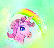 Illustration of beautiful pink Unicorn. Stock Photo