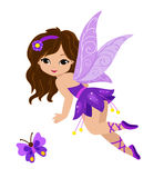Illustration of a beautiful purple fairy. In flight Isolated on white background Stock Images