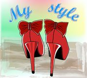 Illustration of beautiful red shoes with high heels stock photo