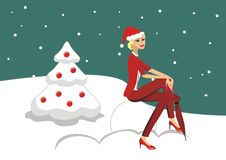 Illustration Beautiful blonde girl in a red Christmas card Stock Photography