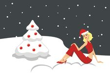 Illustration Beautiful sexy blonde girl in a red Christmas card Royalty Free Stock Images