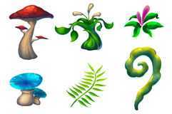 Illustration: The Beautiful and Strange Plants. Set 1. Mushroom, Grass, Flower, Vine. Realistic Fantastic Cartoon Style Scene / Wallpaper / Background Design royalty free illustration