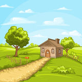 Illustration of beautiful summer landscape Royalty Free Stock Images