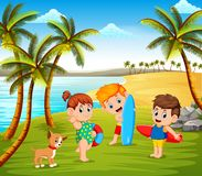 The beautiful sunny day in the beach and the children playing together with some pets stock illustration