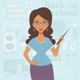 An illustration of beautiful teacher at school Stock Photo