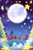 Illustration: The Beautiful Town in the Christmas Night! Wish Card Background. Realistic Cartoon Style Scene / Wallpaper / Background Design Royalty Free Stock Photos