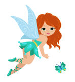 Illustration of a beautiful turquoise fairy Royalty Free Stock Photos