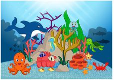 Beautiful Underwater World Cartoon royalty free illustration