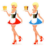 Illustration of a beautiful waitress serving beer Stock Photography