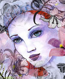 Illustration of a beautiful woman Stock Photos