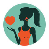 An illustration of beautiful woman holding heart Royalty Free Stock Photos