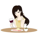 Illustration of beautiful woman likes red wine in Valentins day Royalty Free Stock Images