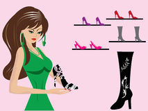 Beautiful-woman-in-shoe-shop. Illustration with Beautiful-woman-in-shoe-shop Royalty Free Stock Photography