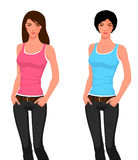 Illustration of a beautiful young girl in jeans Royalty Free Stock Image
