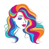 Illustration with beauty fashion model girl with colorful long dyed hair. Portrait of a beautiful woman with colouring rainbow hair, curly long haircut, salon stock illustration