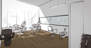 Illustration of a beauty salon interior. Perspectivr drawing of a beauty salon interior vector illustration