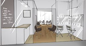 Illustration of a beauty salon interior. Perspectivr drawing of a beauty salon interior royalty free illustration