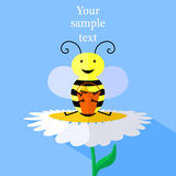 Illustration of bee and flower Stock Photo