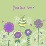 Illustration of bee flying over flowers Stock Images