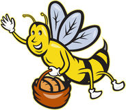 Bee Carrying Basket Bread Loaf Cartoon Royalty Free Stock Images