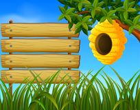 Beehive in the garden with blankwood. Illustration of beehive in the garden with blankwood royalty free illustration