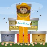Beekeeper man with card save the bees. Illustration of beekeeper man with card save the bees royalty free illustration
