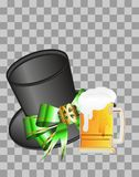 Illustration of a beer festival. Figure with a green hat and a beer mug on a checkered background Stock Images