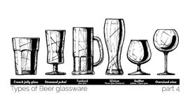 Illustration of Beer glassware. Types of Beer glassware. French jelly glass, stemmed pokal, tankard, weizen, snifter and Oversized wine glasses. illustration of Royalty Free Stock Photography